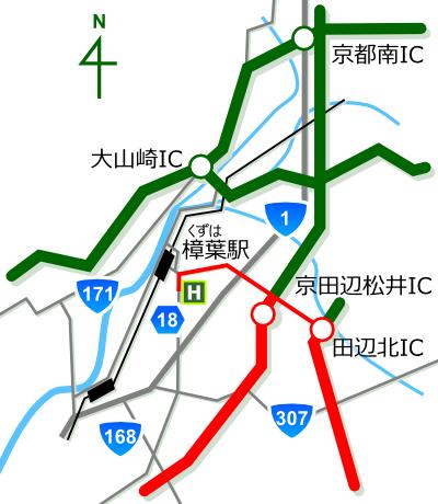ゴルフ工房 オネスト 大阪府枚方市 和歌山・奈良方面からの地図