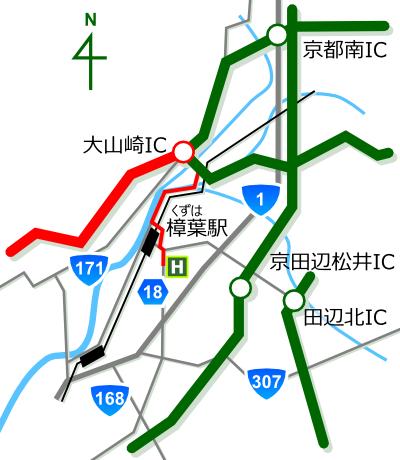ゴルフ工房 オネスト 大阪府枚方市 中国方面からの地図